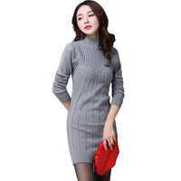 New Arrival Women Autumn/Winter Dress 5 Colors Knitting Warm Sheath Plus Size S-3XL Casual Women's dresses vestidos-Justt Click