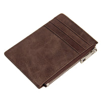 Genuine Leather slim Mens wallet Card Holder Short wallet Mini Zip Coin Purse-Justt Click