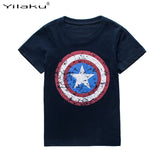 New 2017 Kids Boys Short Sleeve Captain America T-shirt-Justt Click