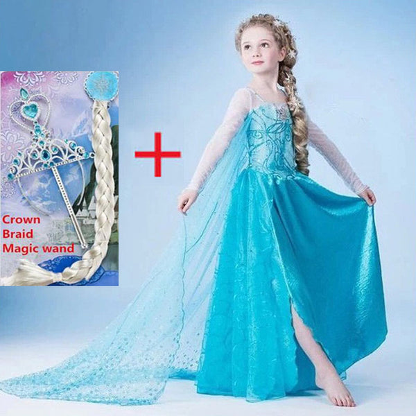 Girls Dresses elsa dress costumes kids Cosplay party Dress princess anna dresses elza vestidos infants for children-Justt Click