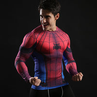 Gym Tights Elastic Quick-drying Spiderman 3D Printed T-shirts Long&Short Sleeve-Justt Click