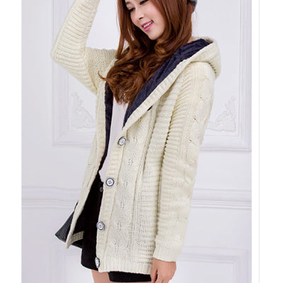 New Winter Hooded Cardigan Cashmere Sweater Women Coat Thick Warm Sueter Mujer Long Sleeve Knitted Cardigans Female Poncho-Justt Click