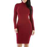 2017 New Winter Turtleneck Long Sleeve Women Dress Fashion Casual Long Sleeve Black Red Pencil Midi Bodycon Party Dresses-Justt Click