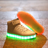 8 Colours USB Charging Led  Men Women Leather Waterproof  Sneakers  Glow - Justt Click