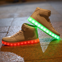 8 Colours USB Charging Led Men Women Leather Waterproof Sneakers Glow-Justt Click