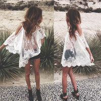 2017 Women Beach Dress Sexy Strap Sheer Floral Lace Embroidered Crochet Summer Dresses - Justt Click