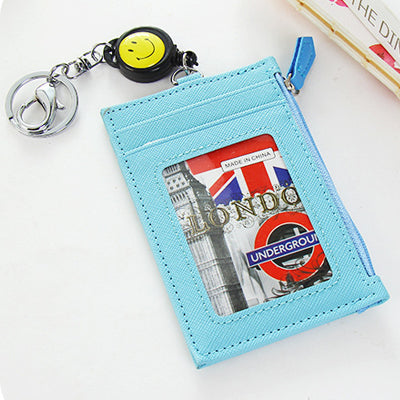Women Fashion Credit Card Holder PU Leather Card Holders Wallet Girls Pillow Card holder Money Purse With Key Chain-Justt Click