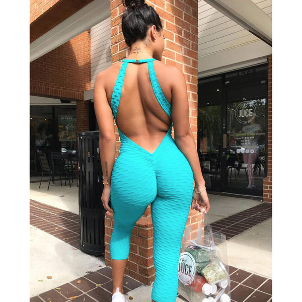 2018 Sportswear Workout clothes for women blue Fitness Yoga Set Sexy leggings Yoga Sport Suit Bandage Gym Bodysuit-Justt Click