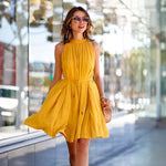 2018 summer pocket Sleeveless Pleated dress women casual fashion Bandage Sashes Beach party Bohemian woman dresses Yellow 8604 - Justt Click