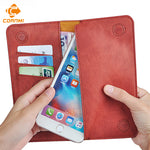 5.5 Universal Vintage Leather Flip Wallet Pouch For iPhone 8 7 Plus For Samsung S7 5.5 Inch Cell Phone Case CORNMI-Justt Click