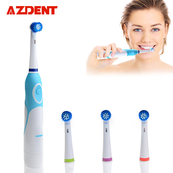 Rotating Electric Toothbrush Battery Operated with 4 Brush Heads Oral Hygiene Health Products No Rechargeable Tooth Brush-Justt Click