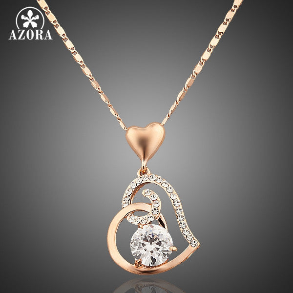AZORA Rose Gold Plated Stellux Crystals Heart Pendant NecklaceTN0009 - Justt Click