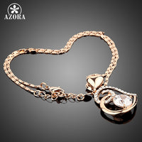 AZORA Rose Gold Plated Stellux Crystals Heart Pendant NecklaceTN0009-Justt Click