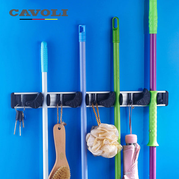 Cavoli Bathroom Accessories Aluminum AlloyWall Hooks 4 Clips Advanced Wall Mop Hanger-Justt Click