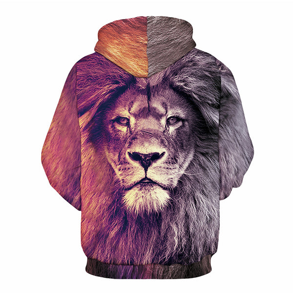 Animal Style Mens Hoodies Sweatshirts 3d Printed Lion Pullovers Cool Tracksuit 2017 Autumn Winter Tops Unisex Clothing-Justt Click