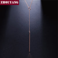 Y Style Chain Long Necklace And Pendant Rose Gold Plated Fashion Jewelry-Justt Click