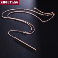 Y Style Chain Long Necklace And Pendant Rose Gold Plated Fashion Jewelry - Justt Click