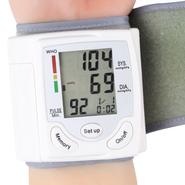 Automatic Digital LCD Display Wrist Blood Pressure Monitor Heart Beat Rate Pulse Meter Tonometer-Justt Click