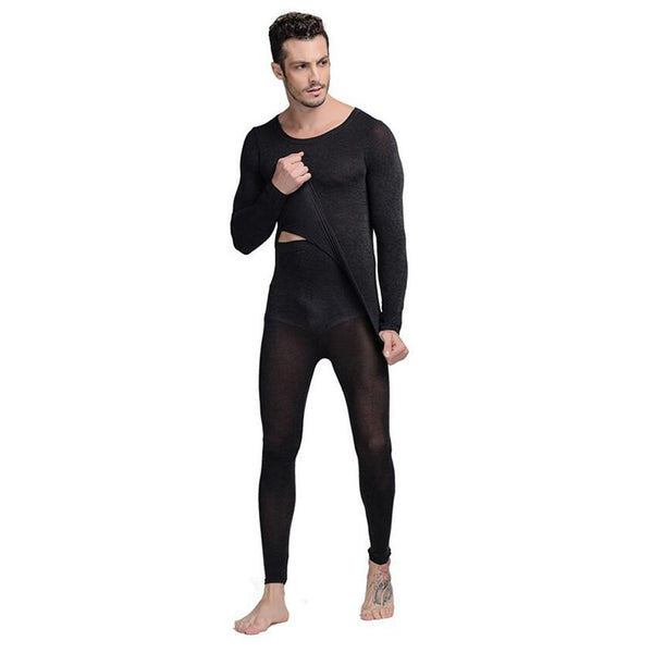 Hot Winter 37 Degree Men Thermal Underwear Set Ultrathin Heat Long Johns High Elastic Warm Suit Free Size-Justt Click