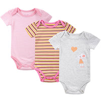 BABY BODYSUITS 3PCS 100%Cotton Infant Body Short Sleeve Clothing Similar Jumpsuit Printed Baby Boy Girl Bodysuits - Justt Click