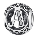 Authentic 925 Sterling Silver Vintage A to T, Clear CZ Alphabet Letter Beads Fit Charms Bracelets PSC008-Justt Click