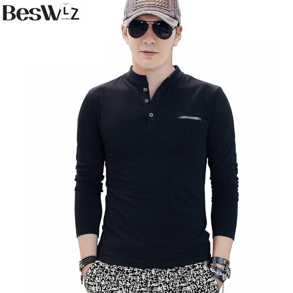 New spring Summer Long Sleeve Men's T-shirt With Collar-Justt Click