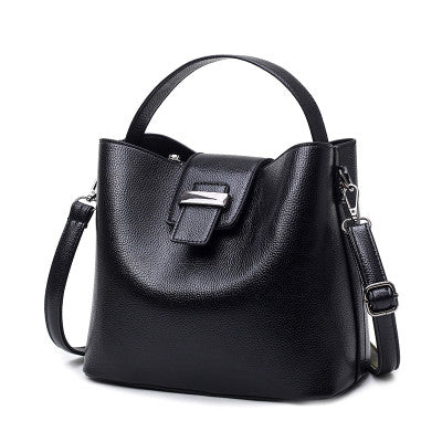 Black Gray Bucket Women Leather Handbags Big Capacity Casual Tote Shoulder Bag Luxury Handbags-Justt Click