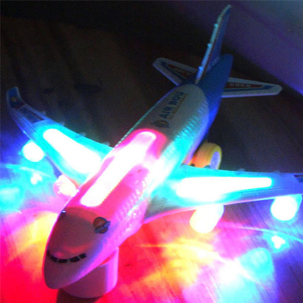 Blue Light Universal Airbus A380 Plane Model Flashing Sound Electric Airplane Children Kids Toys Gifts Automatic Steering-Justt Click