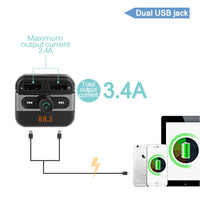 Bluetooth Car Kits MP3 Player with TF Card Slot Dual USB Port Car Charger FM Transmitter Modulator Handsfree Phone Calling 1PCS-Justt Click