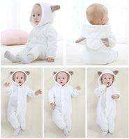 Branded Soft Flannel Baby Pajamas Kids Boy Girls Sleepwear Warm Boys Girls Hooded Romper - Justt Click