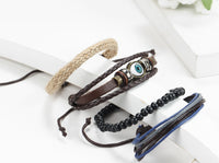 Ethnic Black Adjustable Leather Bracelet Evil Eye Feather Charm (Size: 1)-Justt Click