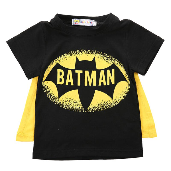 New Toddler Kids Boys Short Sleeve Superman Batmen T-Shirt Tees Costume Clothes Baby Boys Clothes Set Boys Clothing-Justt Click