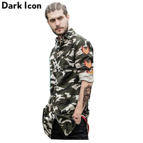 Camouflage Shirt Men Patches on Sleeve Elongated Hipster Shirts 2017 Spring Streetwear Side Ribbon Camo Men's Shirt Man Clothing - Justt Click