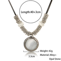 Collares 2017 Fashion Opal Necklace Pendant for Women Leather Necklace - Justt Click