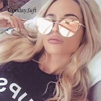 Coodaysuft  Women Sunglasses New Cat eye Brand Design Mirror Flat Rose Gold Vintage Cateye - Justt Click