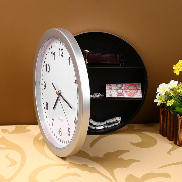 Creative Wall Clock Safe Money Jewellery Container Mechanical Storage Box Plastic Jewelry Money Hidden Secret Stash Safe Box-Justt Click