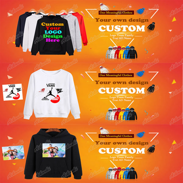 Custom Hoodies Logo Text Photo Print Men Women Kids Personalized Team Family Customize Sweatshirt Promotion AD Apparel Clothes-Justt Click