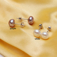 Pearl Earring White Pink Purple Black Color Freshwater Pearl Earring 925 SterlingSilver Stud Earring Wholesale Discount-Justt Click