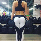 Detector Women Yoga Leggings White Black Heart Sport High Waist Slim Running Fitness Workout - Justt Click