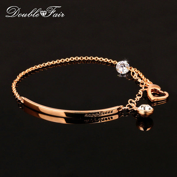 Double Fair Cubic Beads Charm Bracelets & Bangles Rose Gold Color Fashion Crystal Jewelry For Women-Justt Click