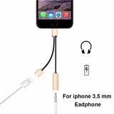 Double jack Headphone Adapter For iPhone 7/8 Plus X IOS 11 Charging Call or Music 3.5 MM Audio Converter-Justt Click