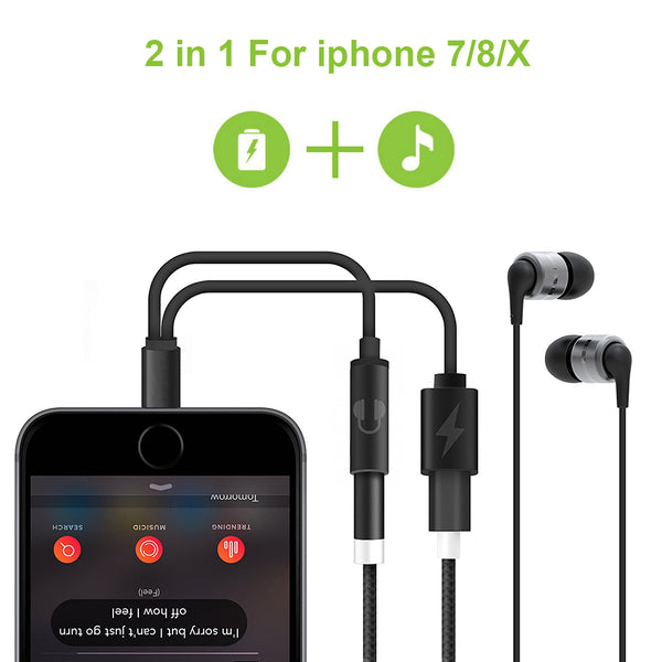 Double jack Headphone Adapter For iPhone 7/8 Plus X IOS 11 Charging Call or Music 3.5 MM Audio Converter - Justt Click