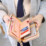 New Style Leather Women's Wallet Credit Card Holder Cell Phone Pocket-Justt Click