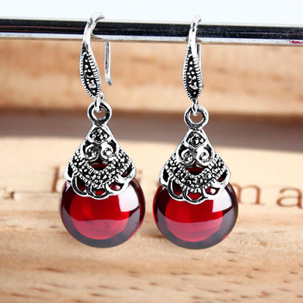 EDI Retro Round Garnet Earrings Female 925 Sterling Silver Jewelry-Justt Click