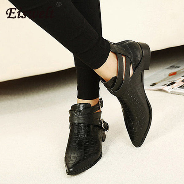 1fc261083b4b ... Women s Leather Ankle Boots Fashion Pointed Toe Buckle Crocodile  Pattern Boots Women Spring Autumn Shoes  ...