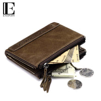 Genuine Crazy Horse Leather Men Wallet Small Short Vintage Leather Wallet Coin Purse New High Quality Brand Design Walet-Justt Click