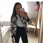 Flower Print Women Coats Long Sleeve Zipper Bomber Jacket Casual Jacket Coat Autumn Winter-Justt Click