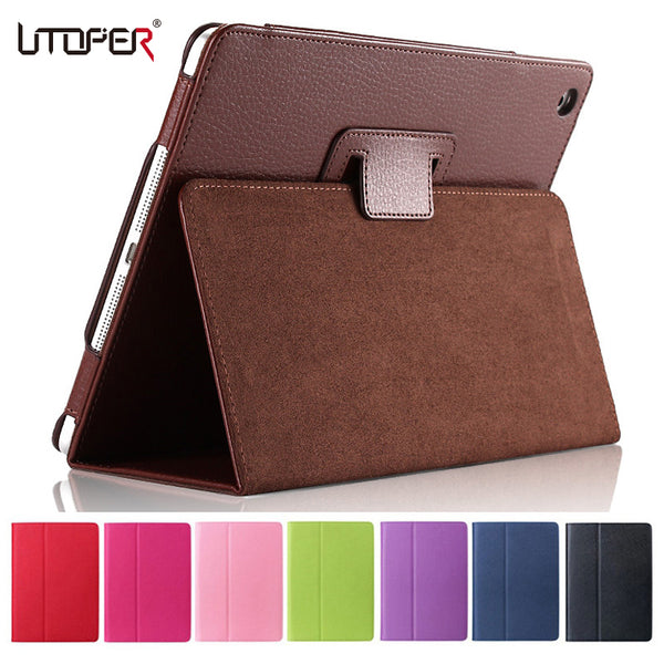 For Apple ipad 2 3 4 Case Auto Sleep /Wake Up Flip Litchi PU Leather Cover For New ipad 2 ipad 4 Smart Stand Holder Folio Case-Justt Click