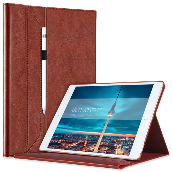 For iPad Pro 12.9 Case Leather W Pencil Holder For Apple Pencil [Invisible Stand]-Justt Click
