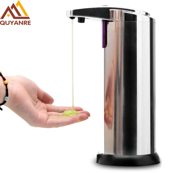Free Shipping 220ml Automatic Soap Dispenser Stainless Steel Built-in infrared Sensor Infrared Handfree Sanitizer Soap Dispenser-Justt Click
